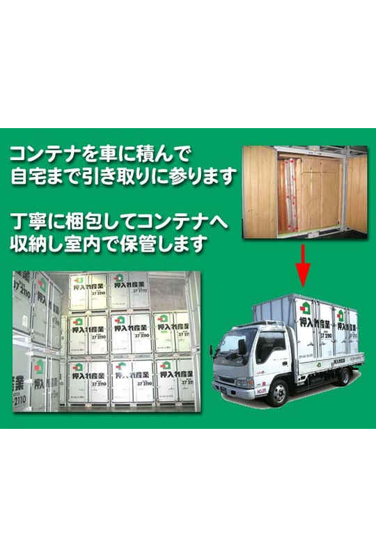 屋内保管・常人管理で安心・安全 押入れ産業 広島宇品店